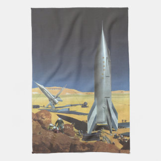 Vintage Science Fiction Desert Planet with Rockets Hand Towels
