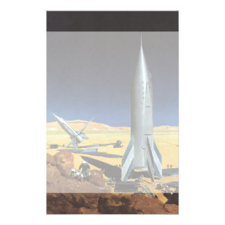 Vintage Science Fiction Desert Planet with Rockets Personalized Stationery