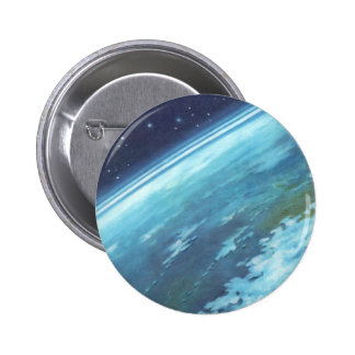 Vintage Science Fiction, Earth at Night with Stars 2 Inch Round Button