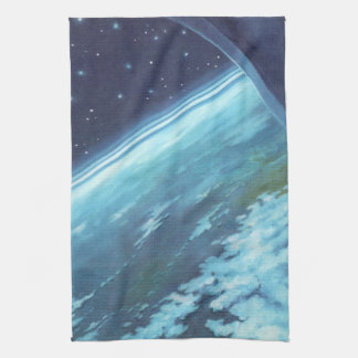 Vintage Science Fiction, Earth at Night with Stars Kitchen Towel