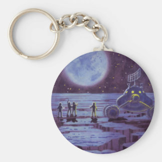 Vintage Science Fiction Earth Rover Aliens on Moon Basic Round Button Keychain