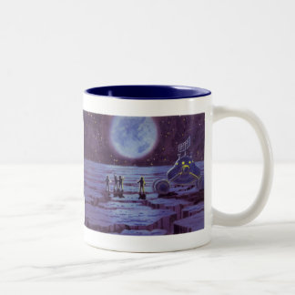 Vintage Science Fiction Earth Rover Aliens on Moon Two-Tone Coffee Mug