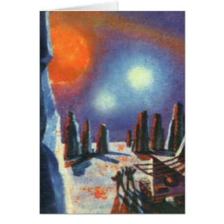 Vintage Science Fiction Foreign Planet with Aliens Greeting Card