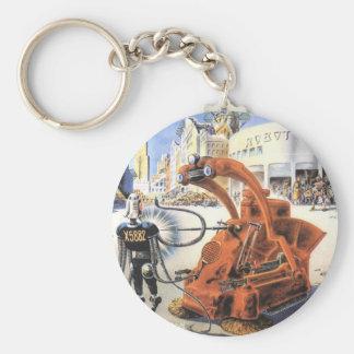 Vintage Science Fiction Futuristic City Alien Wars Basic Round Button Keychain