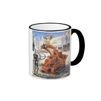 Vintage Science Fiction Futuristic City Alien Wars Ringer Coffee Mug