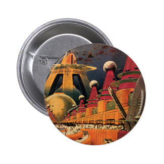 Vintage Science Fiction Futuristic City Flying Car 2 Inch Round Button