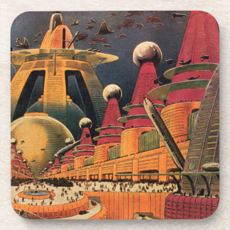 Vintage Science Fiction Futuristic City Flying Car Beverage Coasters