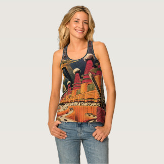 Vintage Science Fiction Futuristic City Flying Car Tank Top
