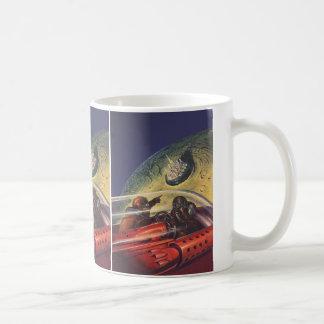 Vintage Science Fiction, Futuristic City on Moon Coffee Mug
