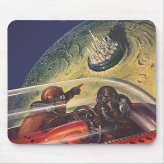 Vintage Science Fiction, Futuristic City on Moon Mouse Pad
