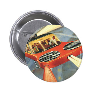 Vintage Science Fiction Futuristic Flying Car 2 Inch Round Button