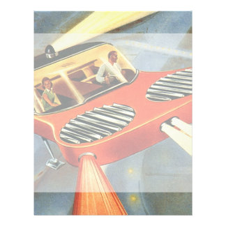 Vintage Science Fiction Futuristic Flying Car Full Colour Flyer