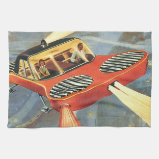 Vintage Science Fiction Futuristic Flying Car Kitchen Towels