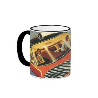Vintage Science Fiction Futuristic Flying Car Ringer Coffee Mug