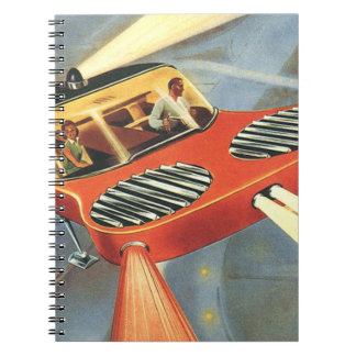 Vintage Science Fiction Futuristic Flying Car Spiral Notebooks