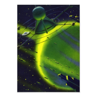 Vintage Science Fiction Green Planet w Spaceship Custom Invites