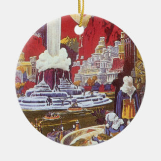 Vintage Science Fiction, Lost City of Atlantis Double-Sided Ceramic Round Christmas Ornament