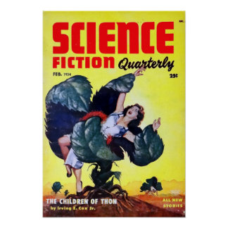 Vintage Science Fiction Man Eating Plants Poster