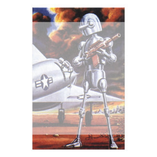 Vintage Science Fiction Military Robot Soldiers Custom Stationery