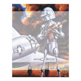 Vintage Science Fiction Military Robot Soldiers Letterhead Design