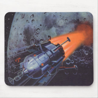 Vintage Science Fiction, Moon Rocket Blasting Off Mouse Pad