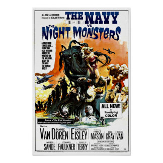 Vintage Science Fiction Navy vs. The Night Monster Poster