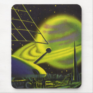 Vintage Science Fiction Neon Green Planet w Rings Mouse Pad