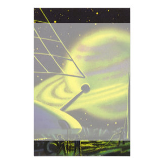 Vintage Science Fiction Neon Green Planet w Rings Stationery Design