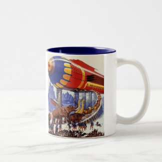 Vintage Science Fiction, Noah's Ark Wild Animals Two-Tone Coffee Mug