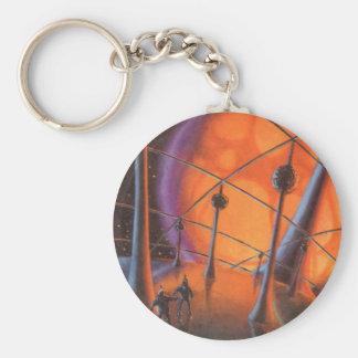 Vintage Science Fiction, Orange Sun and Aliens Basic Round Button Keychain