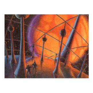 Vintage Science Fiction, Orange Sun and Aliens Postcard