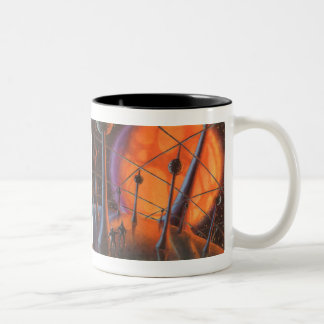 Vintage Science Fiction, Orange Sun and Aliens Two-Tone Coffee Mug