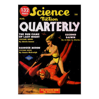 Vintage Science Fiction Quarterly Space Travel Poster