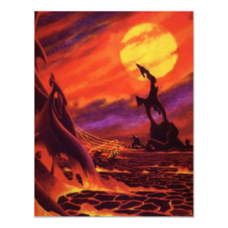 Vintage Science Fiction Red Lava Volcano Planet Invites