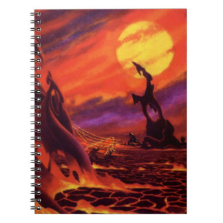 Vintage Science Fiction Red Lava Volcano Planet Spiral Note Books