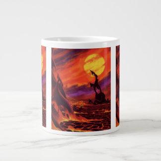 Vintage Science Fiction Red Lava Volcano Planet Extra Large Mug