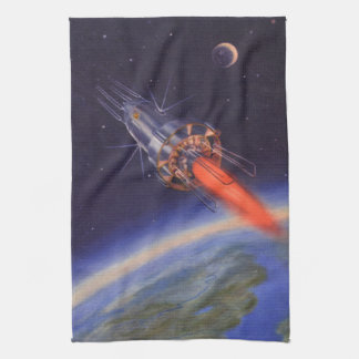 Vintage Science Fiction Rocket in Space over Earth Towel