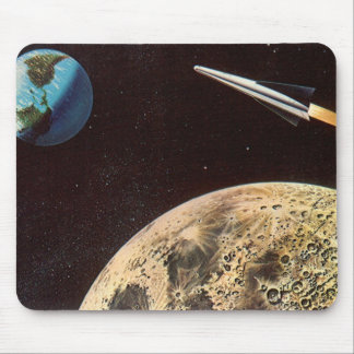 Vintage Science Fiction, Rocket Ship Over the Moon Mouse Pad