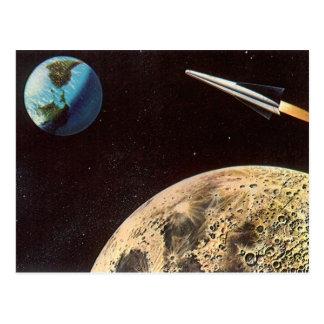 Vintage Science Fiction, Rocket Ship Over the Moon Postcard