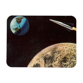 Vintage Science Fiction, Rocket Ship Over the Moon Rectangular Photo Magnet