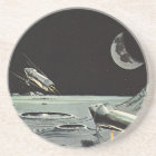 Vintage Science Fiction, Rocket Ships Moon Planets Coaster