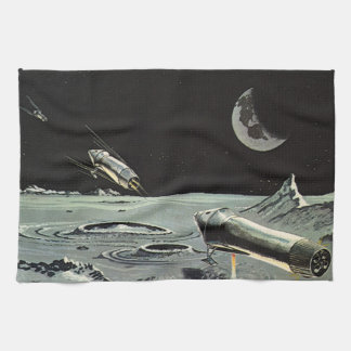 Vintage Science Fiction, Rocket Ships Moon Planets Hand Towel