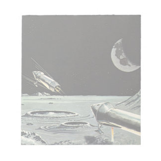 Vintage Science Fiction, Rocket Ships Moon Planets Memo Notepads