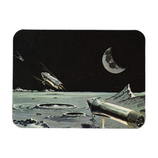 Vintage Science Fiction, Rocket Ships Moon Planets Rectangular Photo Magnet