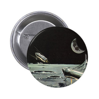 Vintage Science Fiction Rocket Ships Moon Space Button