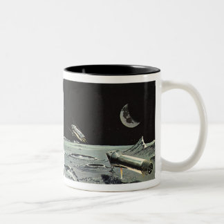 Vintage Science Fiction Rocket Ships Moon Space Mugs