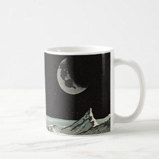 Vintage Science Fiction Rocket Ships Moon Space Coffee Mugs