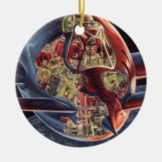Vintage Science Fiction Rocket Spaceship Astronaut Double-Sided Ceramic Round Christmas Ornament