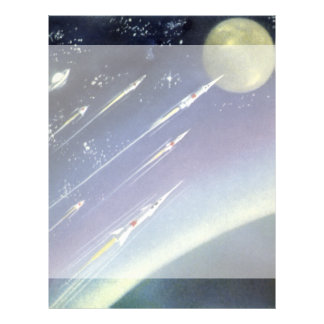 Vintage Science Fiction Rockets in Space by Planet Personalized Letterhead