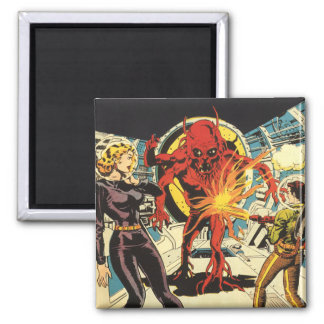 Vintage Science Fiction, Sci Fi Alien Attacking Square Magnet